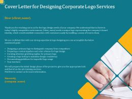 Cover Letter For Designing Corporate Logo Services Ppt Powerpoint Presentation Portfolio