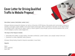 Cover Letter For Driving Qualified Traffic To Website Proposal Ppt Powerpoint Presentation Icon