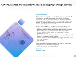 Cover Letter For E Commerce Website Landing Page Design Services Database Ppt Summary Picture