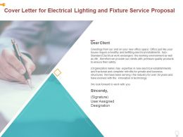 Cover Letter For Electrical Lighting And Fixture Service Proposal Ppt Powerpoint Presentation Ideas Skills