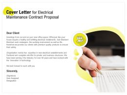 Cover Letter For Electrical Maintenance Contract Proposal Ppt Powerpoint Show