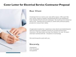 Cover Letter For Electrical Service Contractor Proposal Ppt Slides