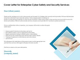 Cover Letter For Enterprise Cyber Safety And Security Services Ppt Templates