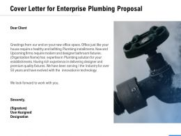 Cover Letter For Enterprise Plumbing Proposal Ppt Powerpoint Presentation Slides Inspiration