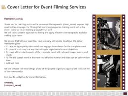 Cover Letter For Event Filming Services Cost Ppt Layouts