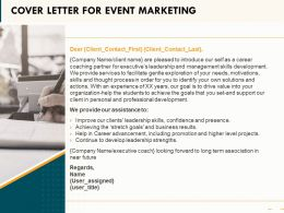 Cover Letter For Event Marketing Ppt Powerpoint Presentation Styles Topics