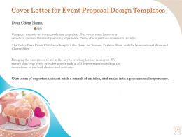 Cover Letter For Event Proposal Design Templates Ppt Layouts