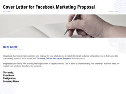 Cover Letter For Facebook Marketing Proposal Ppt Powerpoint Presentation Icon Gallery