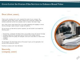 Cover Letter For Feature Film Services To Enhance Brand Value Ppt File Slides