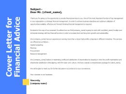 Cover Letter For Financial Advice Ppt Powerpoint Presentation Format