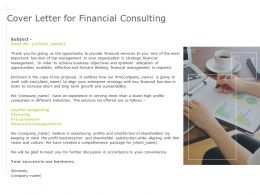 Cover Letter For Financial Consulting Procurement Ppt Powerpoint Presentation