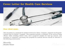 Cover Letter For Health Care Services Ppt Powerpoint Presentation Icon Gridlines