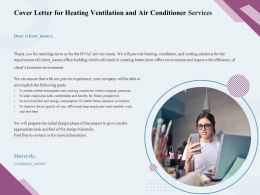 Cover Letter For Heating Ventilation And Air Conditioner Services Ppt Infographics