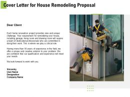 Cover Letter For House Remodeling Proposal Ppt Powerpoint Presentation Layout