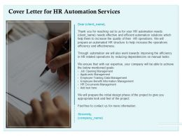 Cover Letter For HR Automation Services Ppt Powerpoint Presentation Icon Deck