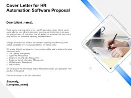 Cover Letter For HR Automation Software Proposal Ppt Template