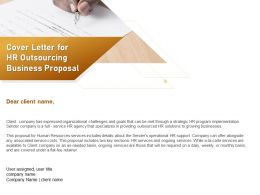 Cover Letter For HR Outsourcing Business Proposal Ppt Powerpoint Presentation Infographic