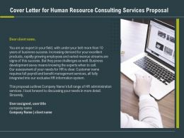 Cover Letter For Human Resource Consulting Services Proposal Ppt Slides Influencer
