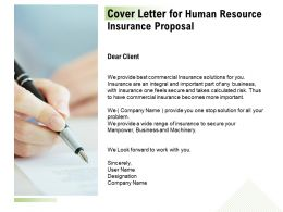 Cover Letter For Human Resource Insurance Proposal Ppt Powerpoint Files