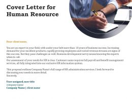 Cover Letter For Human Resource Ppt Powerpoint Presentation Pictures Example