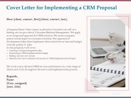 Cover Letter For Implementing A CRM Proposal Ppt Powerpoint Presentation Objects