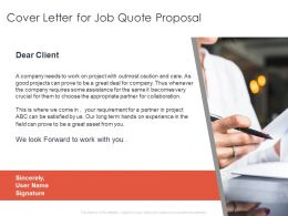Cover Letter For Job Quote Proposal Ppt Powerpoint Presentation File Show