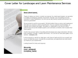 Cover Letter For Landscape And Lawn Maintenance Services Ppt Slides