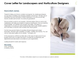 Cover Letter For Landscapers And Horticulture Designers Ppt Slides