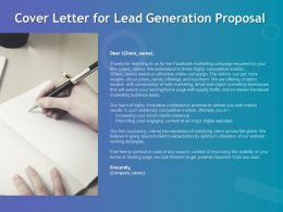 Cover Letter For Lead Generation Proposal Ppt Powerpoint Presentation Slides