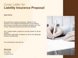 Cover Letter For Liability Insurance Proposal Ppt Powerpoint Slides