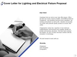Cover Letter For Lighting And Electrical Fixture Proposal Ppt Powerpoint Presentation Infographic