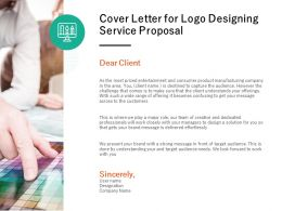 Cover Letter For Logo Designing Service Proposal Ppt Powerpoint Presentation
