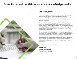 Cover Letter For Low Maintenance Landscape Design Service Ppt Slides