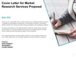 Cover Letter For Market Research Services Proposal Ppt Powerpoint Presentation Infographics Graphics