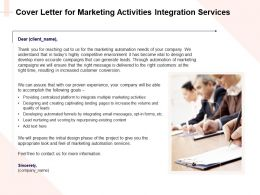 Cover Letter For Marketing Activities Integration Services Ppt Powerpoint Infographics