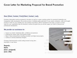 Cover Letter For Marketing Proposal For Brand Promotion Ppt Powerpoint Presentation Infographic