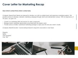 Cover Letter For Marketing Recap Ppt Powerpoint Presentation Slides Gridlines
