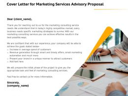 Cover Letter For Marketing Services Advisory Proposal Ppt Clipart