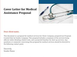 Cover Letter For Medical Assistance Proposal Ppt Powerpoint Presentation Infographic