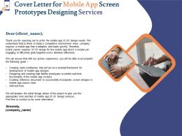 Cover Letter For Mobile App Screen Prototypes Designing Services Ppt Powerpoint Layouts