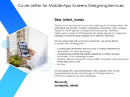 Cover Letter For Mobile App Screens Designing Services App Screens Ppt Powerpoint Presentation Topics