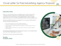 Cover Letter For Paid Advertising Agency Proposal Ppt Powerpoint Presentation Portfolio