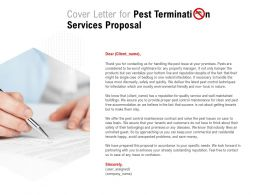Cover Letter For Pest Termination Services Proposal Ppt Powerpoint Presentation Slides Portrait