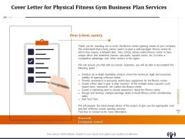 Cover Letter For Physical Fitness Gym Business Plan Services Ppt File Topics