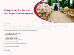 Cover Letter For Pre And Post Nuptial Event Services Ppt Ideas