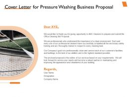 Cover Letter For Pressure Washing Business Proposal Ppt Powerpoint Presentation Deck
