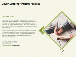 Cover Letter For Pricing Proposal Ppt Powerpoint Presentation Infographics Visuals