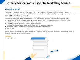 Cover Letter For Product Roll Out Marketing Services Ppt Powerpoint Gallery Styles
