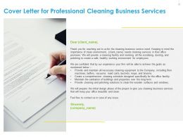 Cover Letter For Professional Cleaning Business Services Business Ppt File Brochure