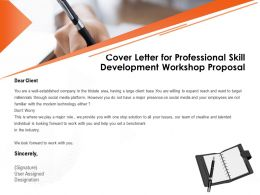 Cover Letter For Professional Skill Development Workshop Proposal Modern Technology Ppt Presentation Slide